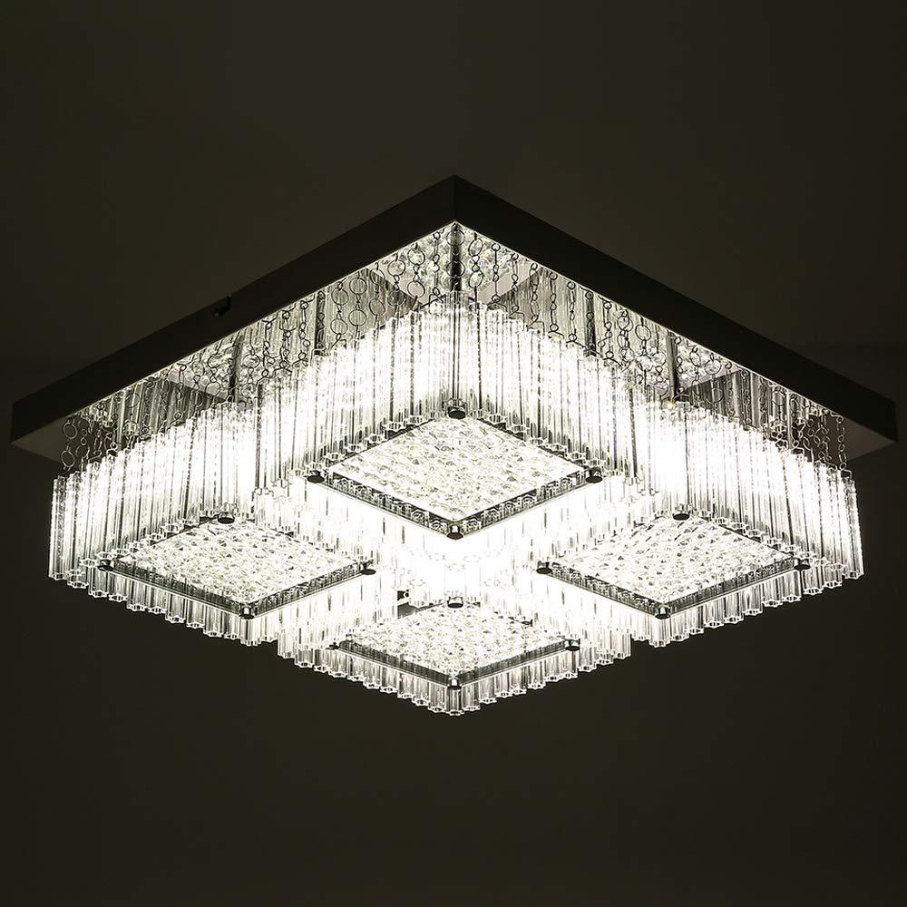 Horisun LED Dimmable Flush Mount Ceiling Light, Fashion Designed Crystal Chandelier Lighting Fixture, ETL Listed 16-inch 2640LM 4000K Pendant Lamp for Dinning Room, Bedroom, Livingroom by Horisun