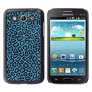 QCASE / Samsung Galaxy Win I8550 I8552 Grand Quattro / patrón de leopardo azul papel tapiz tejido textil / Delgado Negro Plástico caso cubierta Shell Armor Funda Case Cover