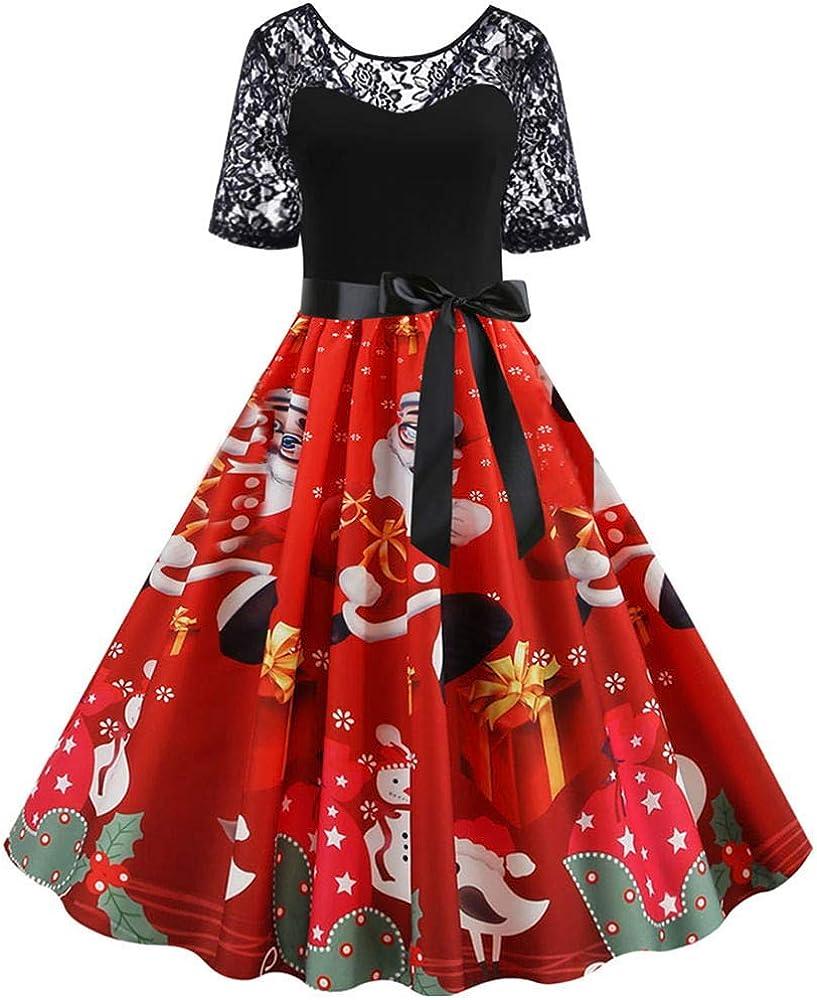 MERICAL Vestido Estampado Vintage de Patchwork de Encaje ...