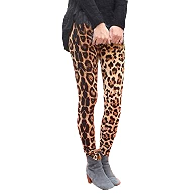 cd9e52c42ae6 Orangeskycn Women Skinny Pants Stretch Leopard Print Elastic Waist Trousers  Brown