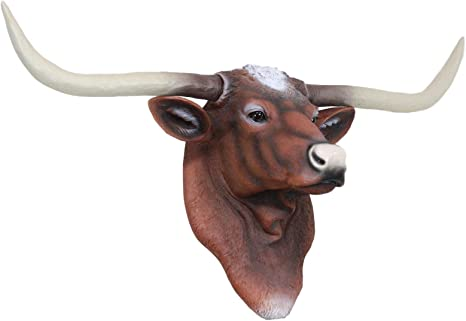 Handcrafted Ornament NEW! Dangle Legs Wood Lornhorn Steer with Texas Star