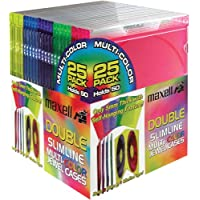 Maxell 190131 Double Slim Jewel Case 25Pk Color