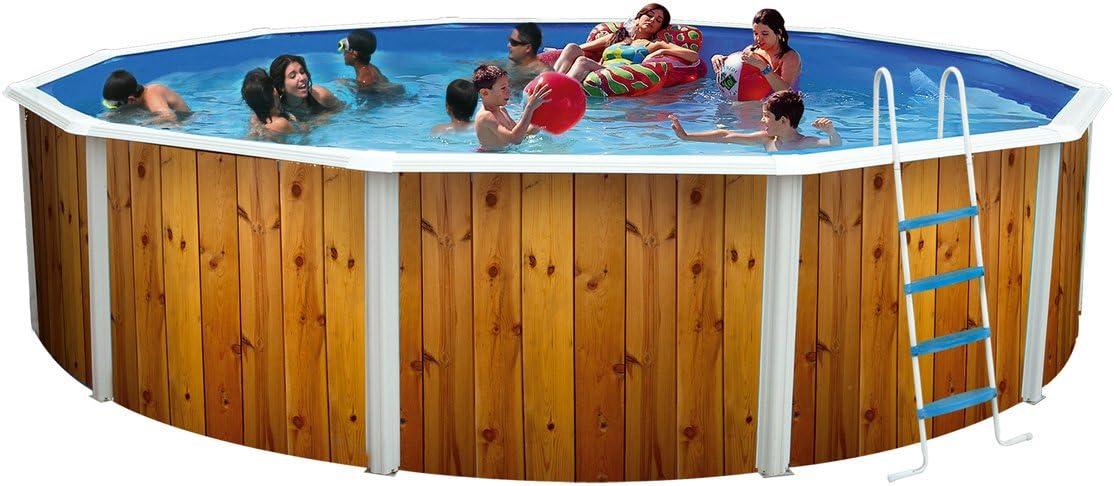 Piscina acero redonda veta decoracion madera 3,50 x 1,20m 8393 ...