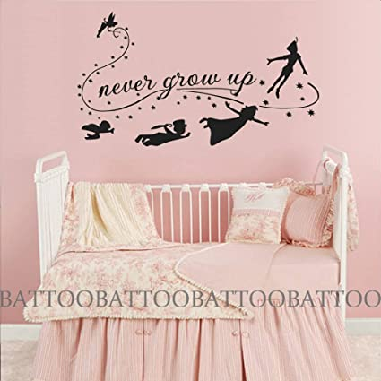 BATTOO Children Wall Decal Quote Never Grow Up Flying Silhouette Fantasy Fairytale Decals Nursery