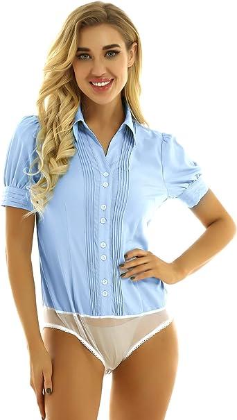 ranrann Camisa Body Manga Corta para Mujer Camisa Casual Verano Botones Blusa para Fiesta Boda Bodysuit Romper Mono: Amazon.es: Ropa y accesorios