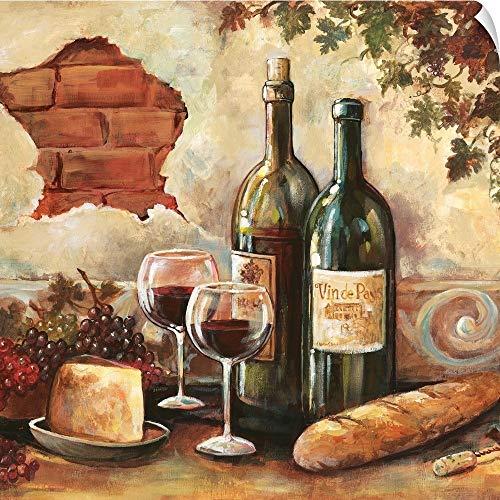 (CANVAS ON DEMAND Bountiful Wine Square II Wall Peel Art Print, 30