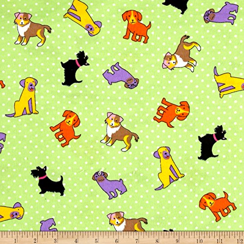 Newcastle Fabrics Flannel Rescue Dog Lime Fabric By The Yard (100 Cotton Flannel Fabric By The Yard)