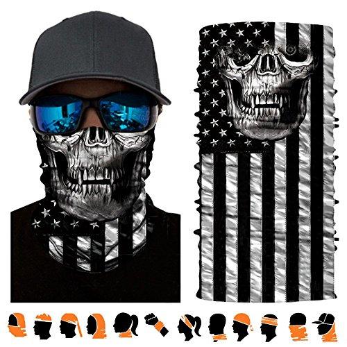 3D Breathable Seamless USA Skull Face Mask Headwear, Bandanna, Balaclava, Face Cover UV Protector, Great Headband for Cycling, Running, Skateboarding, Fishing, Hunting and (Great Skull Masks)