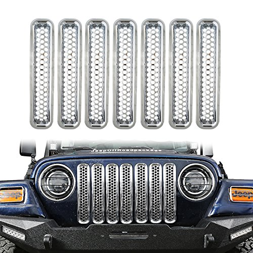 - u-Box Silver Clip in Front Grille Mesh Inserts Honeycomb Chrome Grill Inserts Cover Kit for 1996-2006 Jeep TJ & Unlimited (Pack of 7)