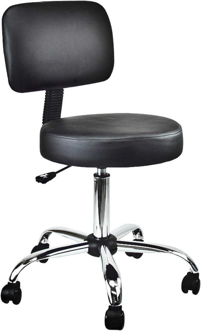 Salon Medical Drafting Stool with Back Cushion Tattoo Hydraulic Chair Black
