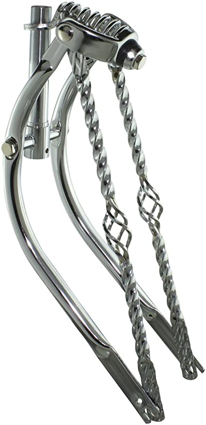 "CHROME 20/"" BENT 1/"" THREADED SPRINGER BIKE FORK LOWRIDER BICYCLE TWISTED BARS"