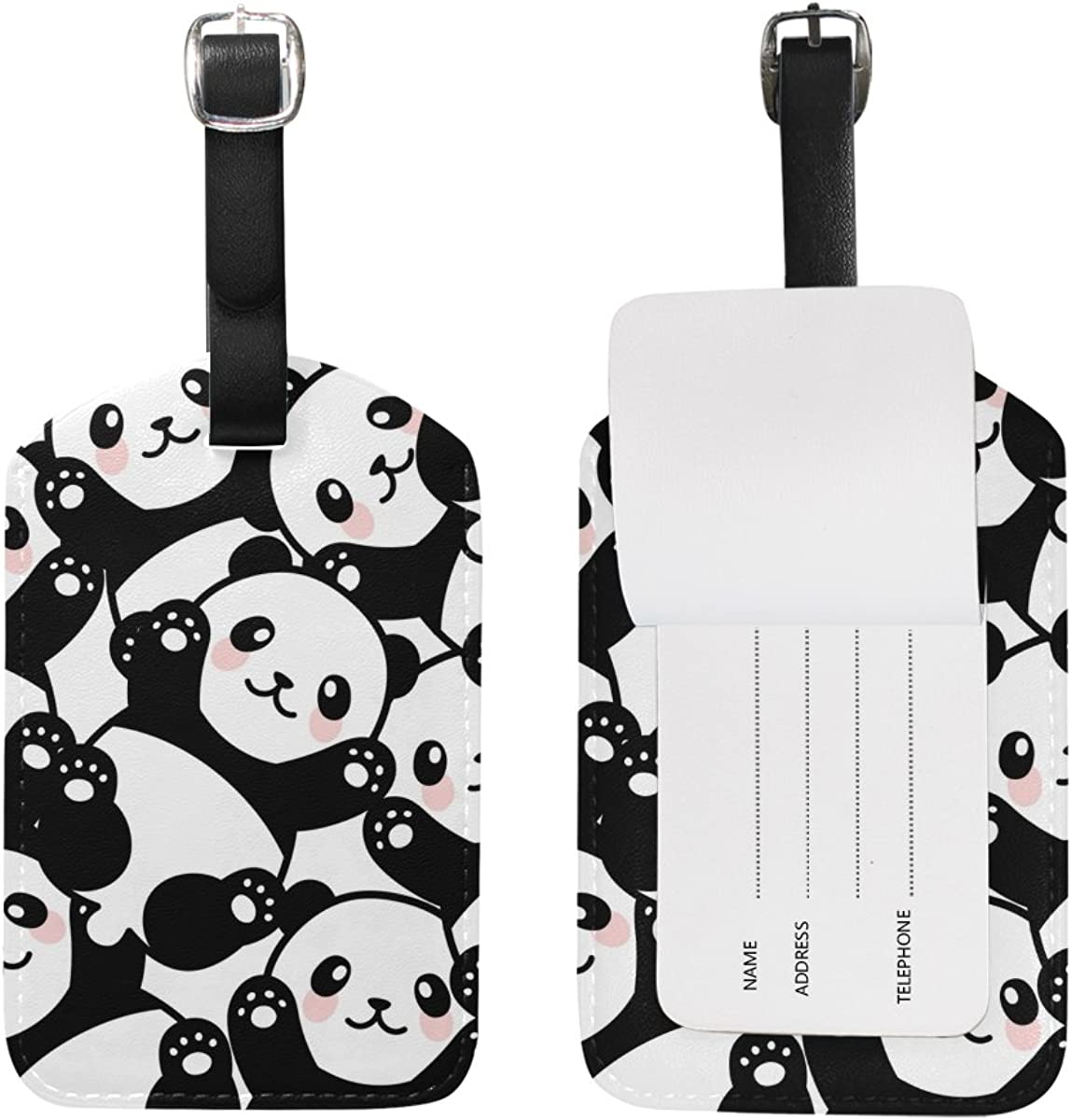 Saobao Travel Luggage Tag Cute Baby Pandas Collection PU Leather Baggage Travel ID