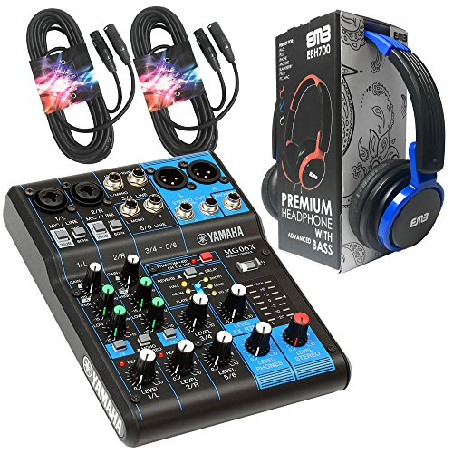 800 Watt Professional Premium Pa (Yamaha Package Bundle - Yamaha MG06X 6-Channel Mixer + EMB EBH700 Pro Preminum Wire Headphone + 2 XLR XLarge Cables)