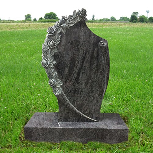 Granite Monument Head Tomb Grave Marker Hand Carved Flowers Cemetery Stone Bahama Blue MN-194 by Stone Spectrum Monuments