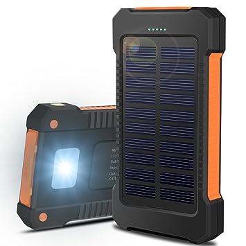 Batería Externa Cargador Solar Power Bank 15000mAh Impermeable Portátil 2 Puertos USB con Luces de Emergencia para iPhone, iPad, Android Smartphone y ...