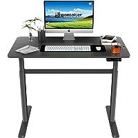 ERGOMAKER Height Adjustable Standing Desk, Electric Sit Stand Up Riser for Home Office (110 x 60 cm, Black Frame + Black…