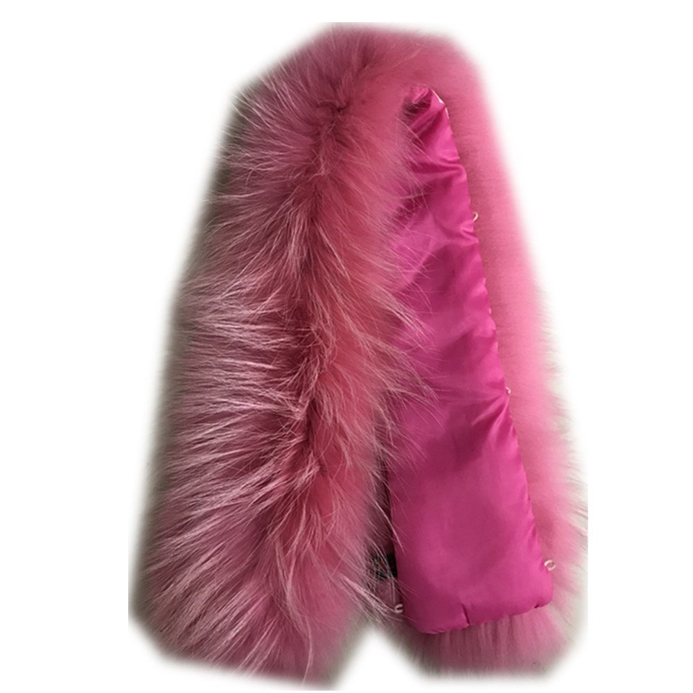 Pink1 Extra Large Women's Raccoon Fur Collar for Winter Coat