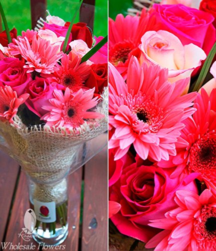 Rosanti Fresh Bouquets | 25 Beautiful Flowers | Roses, Gerberas, Lily Grass | Free Delivery