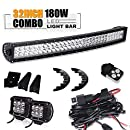 "TURBOSII 32""180W Curved Spot Flood Offroad Led Light Bar w/ 4"" Pods Cube Auxiliary Driving Fog light Lamp On Bumper Grill Windshield Roof For Truck Jeep Wrangler Polaris RZR Trailer Tacoma Boat ATV"