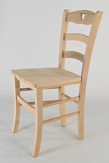 Tommychairs - Set 2 sedie Cuore per Cucina e Sala da Pranzo, Robusta  Struttura in Legno di faggio Levigato, Non trattato, 100% Naturale e Seduta  in ...
