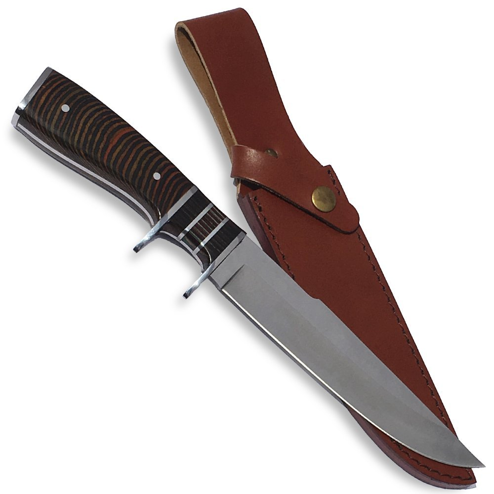 eTradewinds Gentleman s Hunting Knife w Sheath, Pakkawood Handle, Razor Sharp 420 SS Rust Free Full Tang Fixed Blade by eT