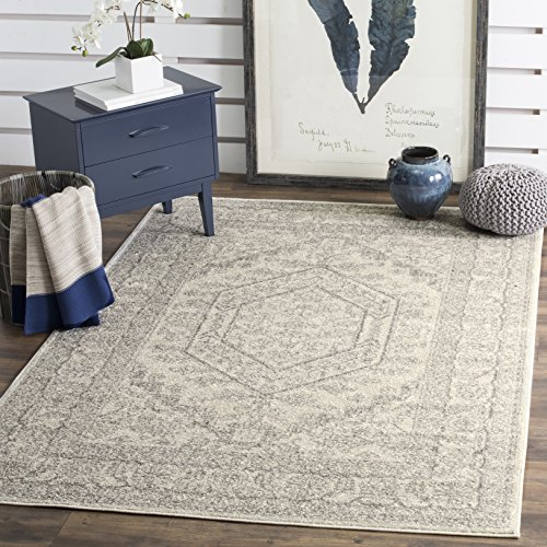 Safavieh Adirondack Collection ADR108B Ivory and Silver Oriental Vintage Medallion Square Area Rug (10' Square) 10 Square Oriental Rug