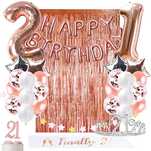 OUGOLD 21st Birthday Decorations Rose Gold Party Supplies for her Gift Finally 21 sash Garland Happy Birthday Balloon foil Curtain Backdrop Props Cake Topper &Confetti Ballon 21st Bday