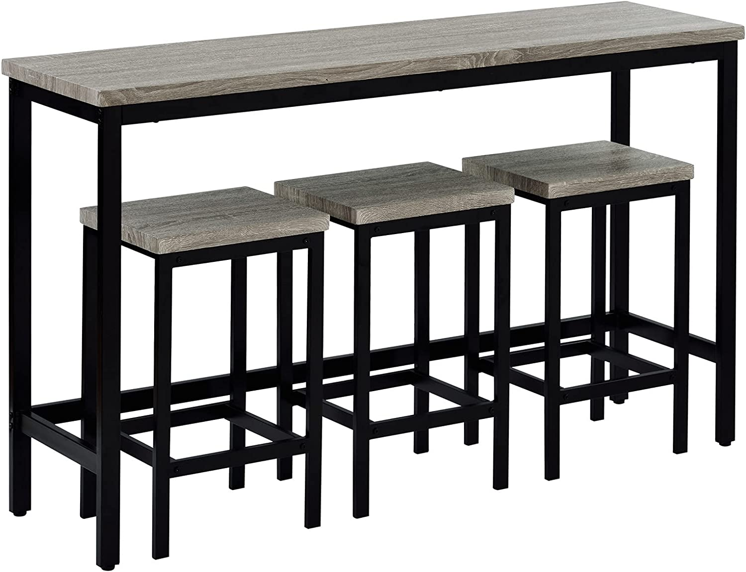 YEAR COLOR Industrial Counter Height Dining Table Set Kitchen Dining Table, 4 Piece Side Table Set with Footrest and 3 Stools Pub, Metal Frame Pub Table Set for Home, Kitchen, Pub, Dining Room (Gray)