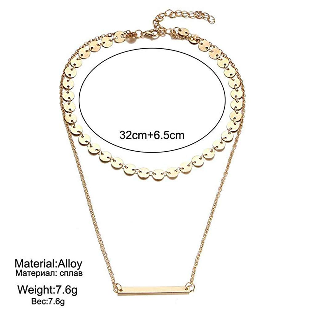 Gold Double Layered Necklace,Haluoo Women Fashion Dainty Beaded Disc Choker Minimalist Vertical Bar Pendant with Sweater Chain Necklace for Girls Stylish Simple Jewelry