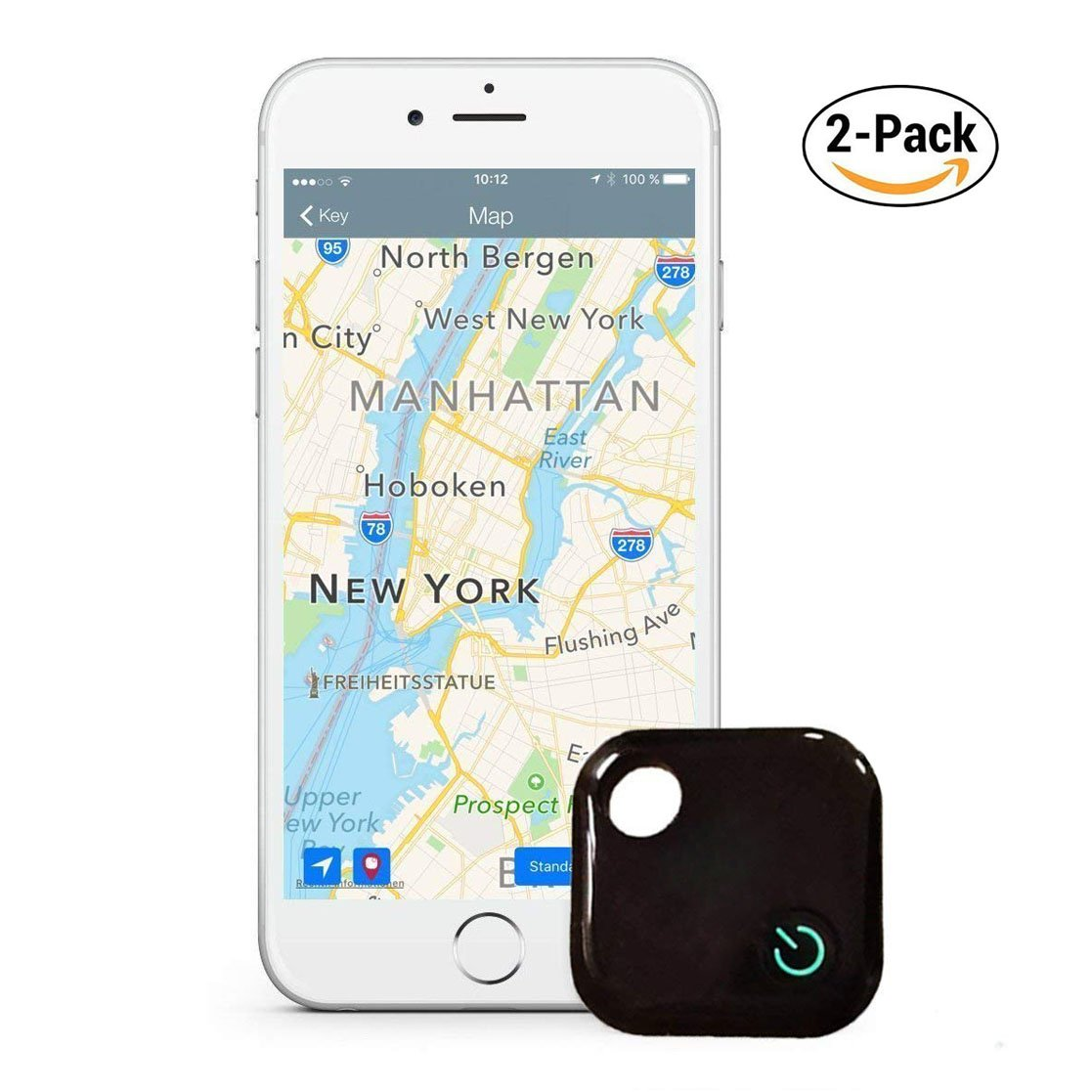 Komire Key Finder, Phone Finder Smart Mini Bluetooth Tracker Locator for Keys Phone Wallet Bag Luggage, Anti-Lost Device with APP for iPhone/Android, Support Cell Phone Self Shutter/Record (2-Pack)