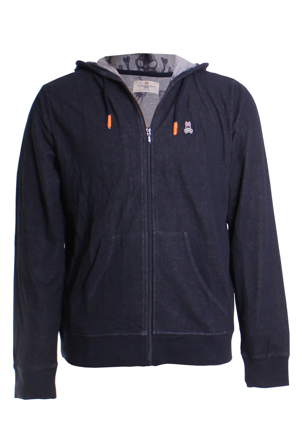 Psycho Bunny Men's Double Face Hoodie w/Printed Interior Logo Navy XX-Large