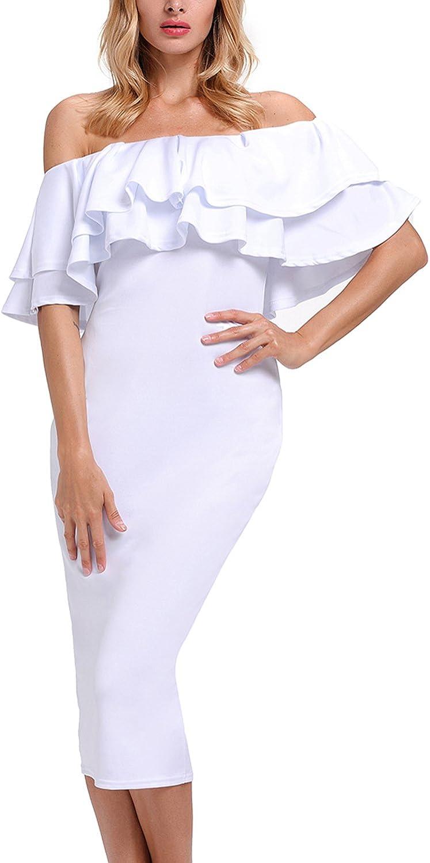 Murimia Womens Dresses Summer Off The Shoulder Ruffle Floral Print Bodycon Midi Dress