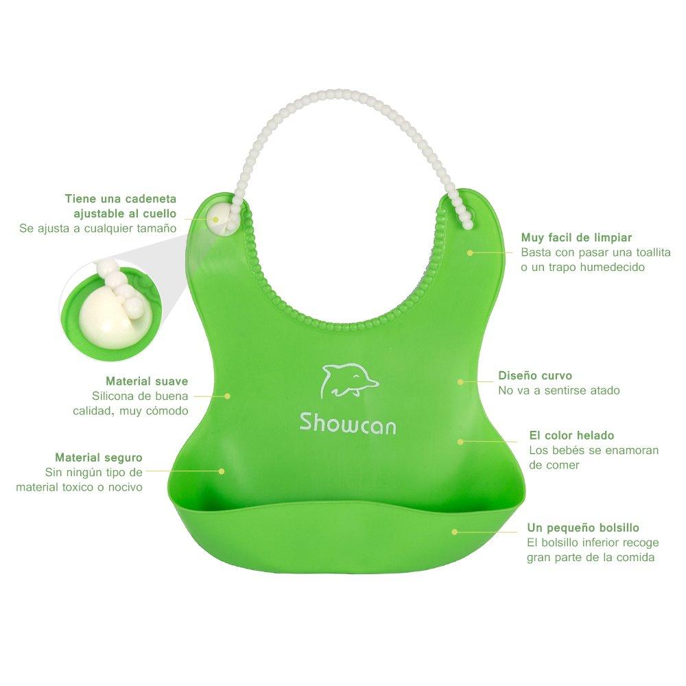 Pack de 3 Babero Impermeable de Silicona con Bolsillo Redondo WEINAS® Unisex Babero Flexible y Ajustable para Comer y Alimentación de Bebé/Niños 3 colores (...