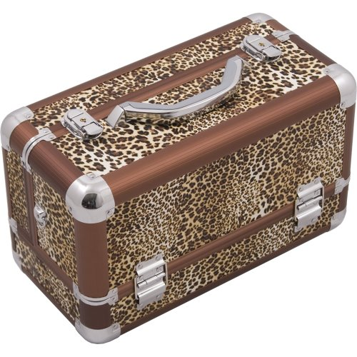 HIKER Makeup Train Case HK3101 Professional Aluminum, 3 Tier Tray and Brush Holder, Locking with Shoulder Strap, Brown Leopard