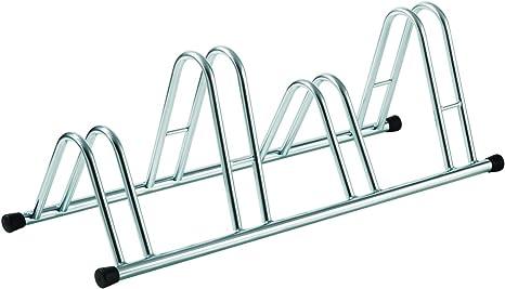 color plata con tapones en pvc negro. Soporte para bicicletas de suelo de 5 plazas en acero galvanizado en fr/ío
