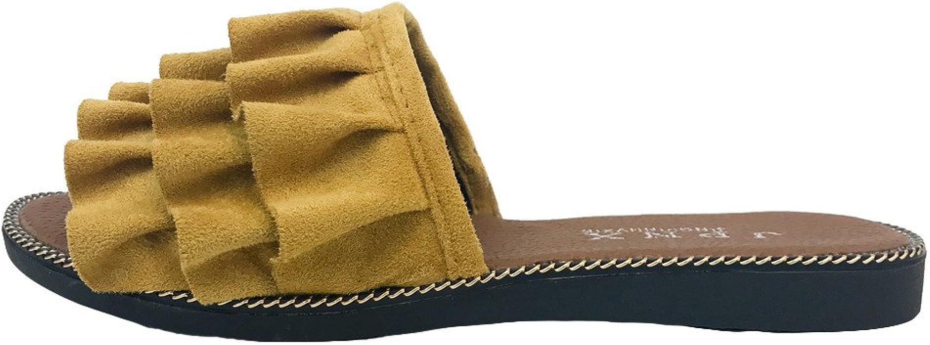 Chancletas Mujer Pelo,YiYLinneo Zapatos De Playa De Verano Encaje Sandalias Color SóLido Chanclas Piso con Una Palabra Zapatillas Casual Flipflop