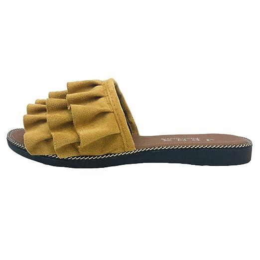 Chancletas Mujer Pelo,YiYLunneo Zapatos De Playa De Verano Encaje Sandalias Color SóLido Chanclas Piso con Una Palabra Zapatillas Casual Flipflop: ...