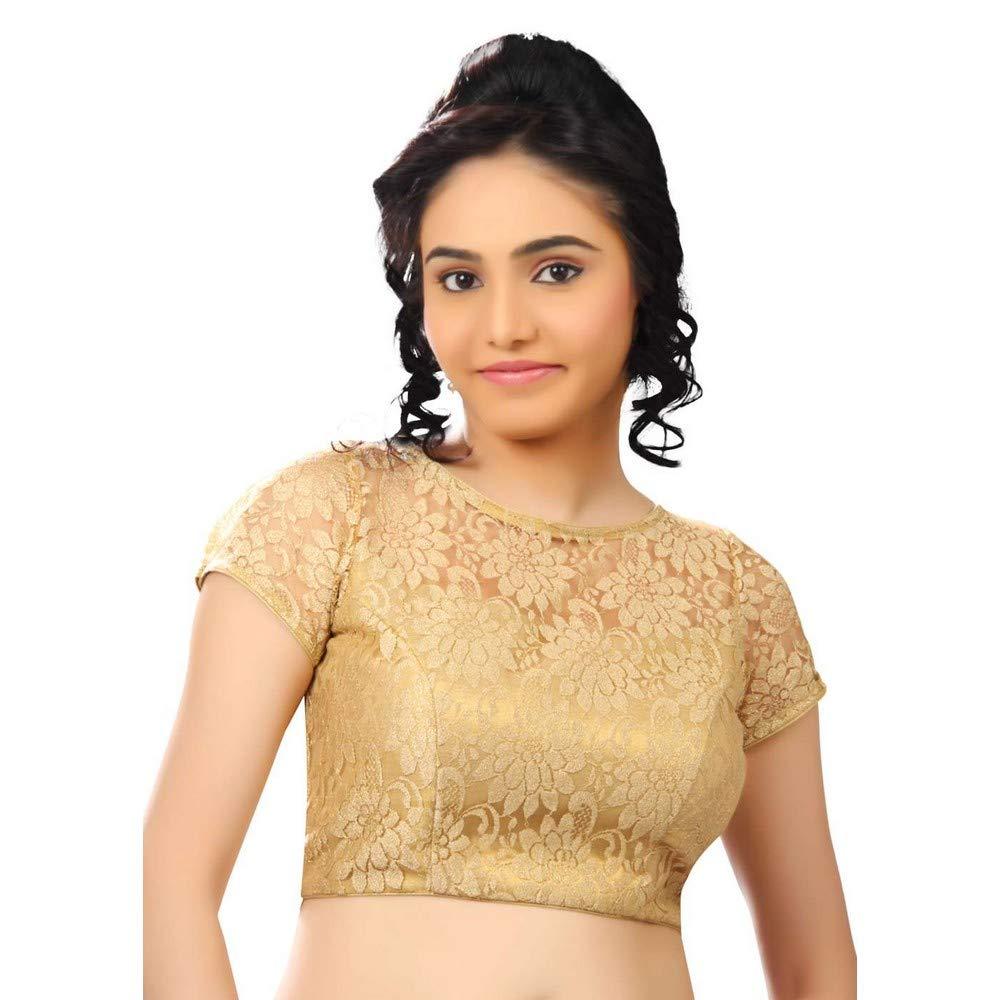 Designer Indian Traditional gold Fancy Net Padded Half Sleeves Saree Blouse Choli (X269Sl)