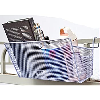 Shelf Storage Baskets, GloednApple Office Table Dormitory Bedside Hanging  Storage Iron Mesh Origanizer Caddy With
