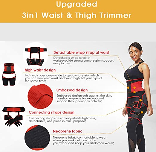 Body Shaper TESLANG 3in1 Waist and Thigh Trimmer Butt Lifter Shapewear Butt Enhancer with Adjustable Belt Waist Trainer for Women Training Fitness Thigh Eraser Trimmers for Women Workout
