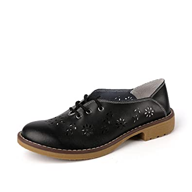 Amazon.com | Mandaartins Women Genuine Leather Oxford Shoes Flats Shoes Moccasins Loafers | Loafers & Slip-Ons
