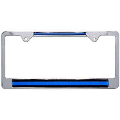 AMG Auto Emblems Thin Blue Line License Police Plate Frame - Support Law Enforcement: Automotive