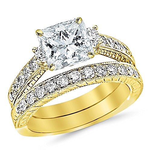 14K Yellow Gold 1.62 CTW Three Stone Vintage With Milgrain & Filigree Bridal Set with Wedding Band & Diamond Engagement Ring w/ 0.59 Ct GIA Certified Princess Cut F Color VS2 Clarity Center
