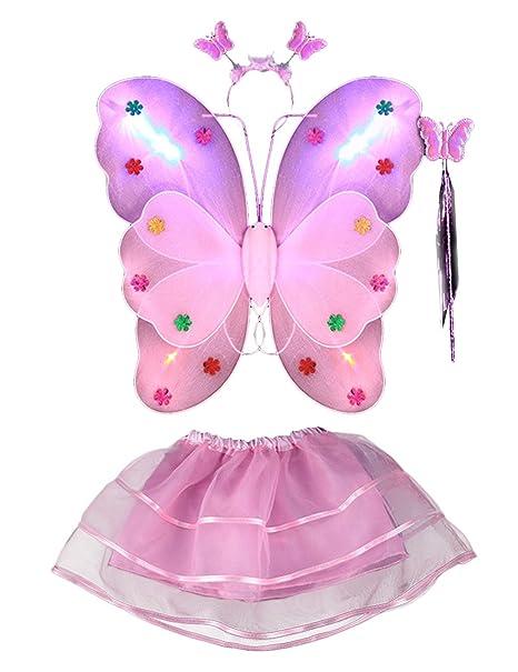 THEE Costume da Elfa o Principessina in 4 Pezzi a Forma di Ali di Farfalla  con 02968357550