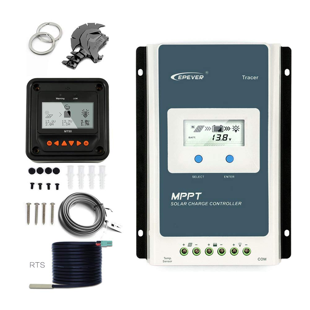 EPEVER 20A MPPT Charge Controller 12v 24v Auto, 20 Amp Solar Panel Charge Regulator Mppt 100V PV Negative Grounded Solar Controller fit for Gel Sealed Flooded and Lithium Battery