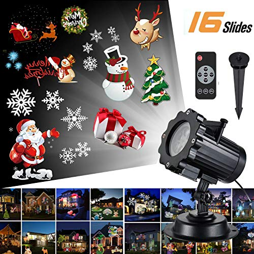 Led Christmas Light Projector - Newest Version Bright Led Landscape Spotlight with 16 Slides Dynamic Lighting Landscape Led Projector Light Show for Halloween, Party, Holiday Decoration ()