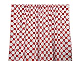 Zen Creative Designs Premium Cotton Large Polka Dot Curtain Panel / Home Window Decor / Window Treatments / Large / Dots / Spots (58 Inch x 36 Inch, White Red)