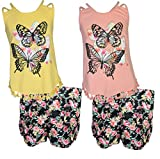 dollhouse Girls 4-Piece Graphic Top and Short Set, Butterfly, Size 7/8'