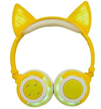 LIMSON Auriculares Inalámbricos Bluetooth Sobre el Oído, Headphones Plegables Recargables del oído del Gato con Micrófono Headset Ergonómicos Brillantes del ...