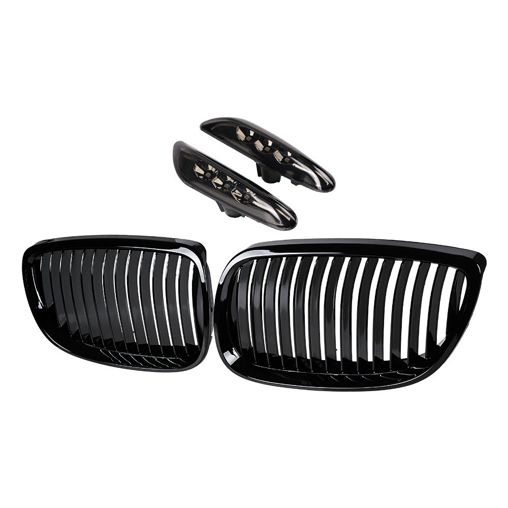 2pcs Front Upper Kidney Grill Grille for 2008-2013 BMW 3-Series E92 E93 M3 Glossy Black M-color